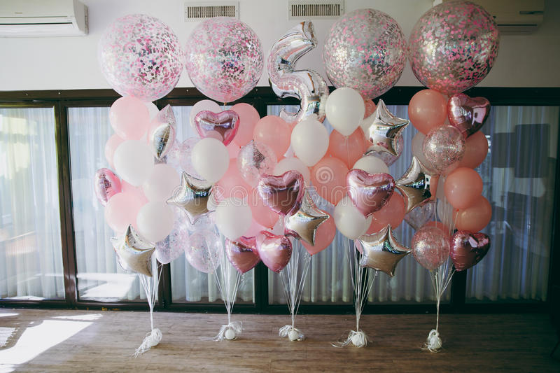 Decoratie met luchtballons royalty-vrije stock afbeelding