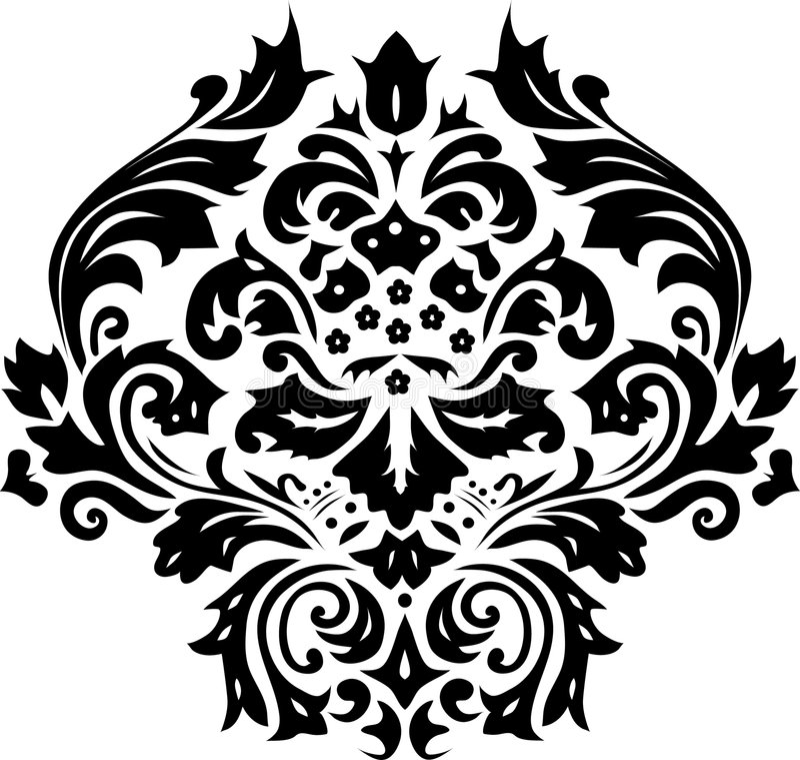 Decoratie met zwarte bladeren royalty-vrije illustratie