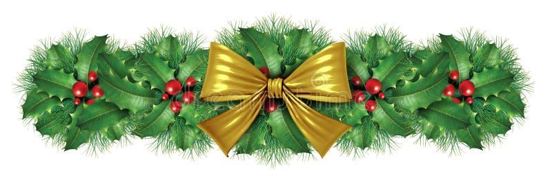 Decoratie van de de booggrens van Kerstmis de Gouden stock illustratie