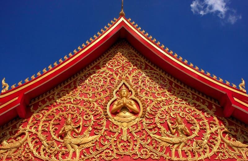 Decoratie van een dak, Wat Si Saket stock foto's