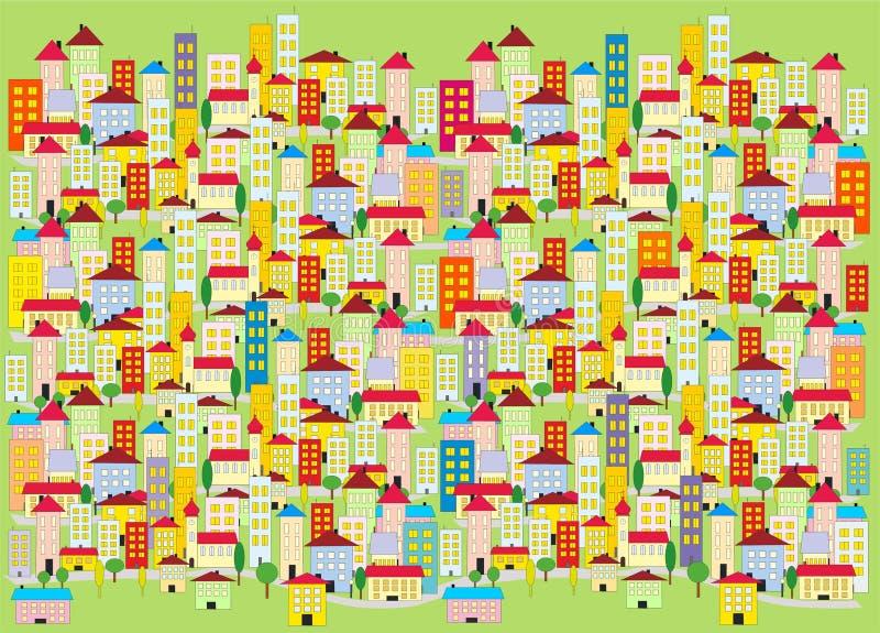 Decoratie van gekleurde stad stock afbeelding