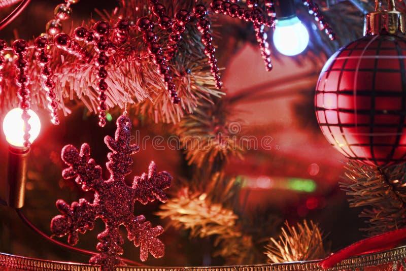 Decoratie van Kerstboom dichte omhooggaand stock afbeeldingen