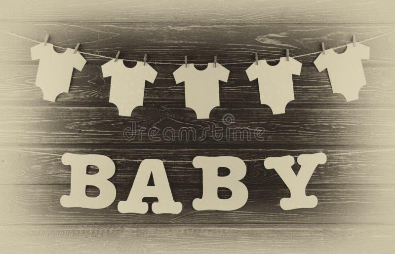 Decoratie voor Babydouche op houten bureau royalty-vrije stock foto's