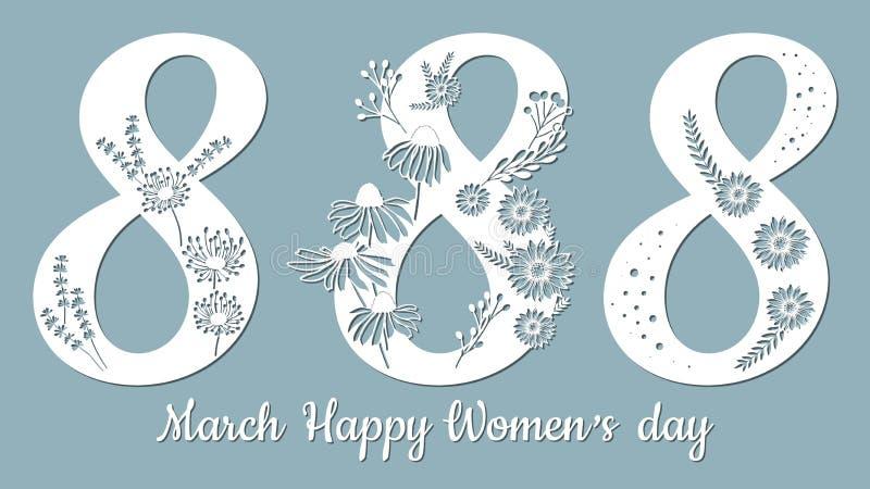 Decoratie voor vrouwen` s dag - 8 Maart paardebloem, Echinacea, kamille, chrysant, bladeren Malplaatje voor laserknipsel Document royalty-vrije illustratie