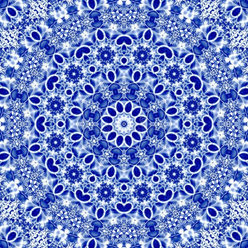 Decoratief abstract textielsneeuwvlokornament in Russische traditionele blauwe kleuren van gzhel met effect van borduurwerkrichel stock illustratie