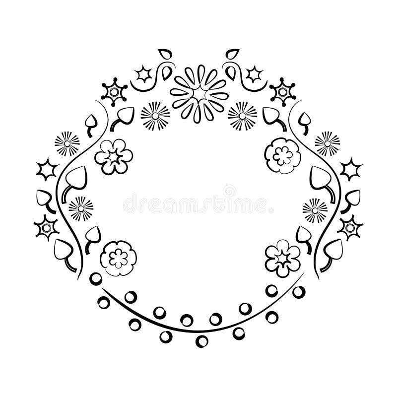 Decoratief bloemen rond kader voor uw tekst, zwart overzichtsontwerp Vector vector illustratie