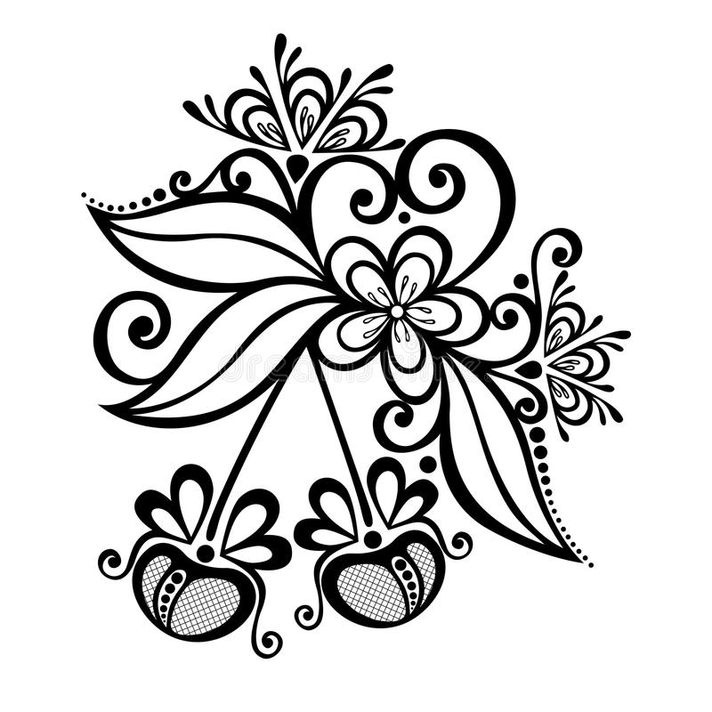 Decoratief Cherry Branch vector illustratie