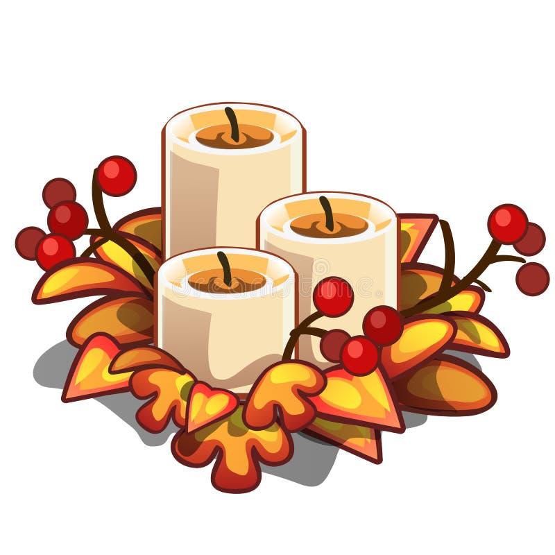 Decoratief element op thema van Kerstmis en Nieuw die jaar op witte achtergrond wordt geïsoleerd De regeling van kaarsen, droogt  vector illustratie