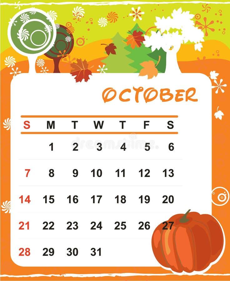 Decoratief Frame voor kalender - Oktober stock illustratie