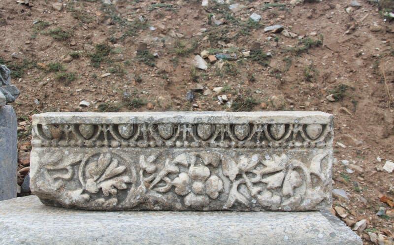 Decoratief Gesneden Metselwerk van Domitian Temple in Ephesus, Turkije royalty-vrije stock foto's
