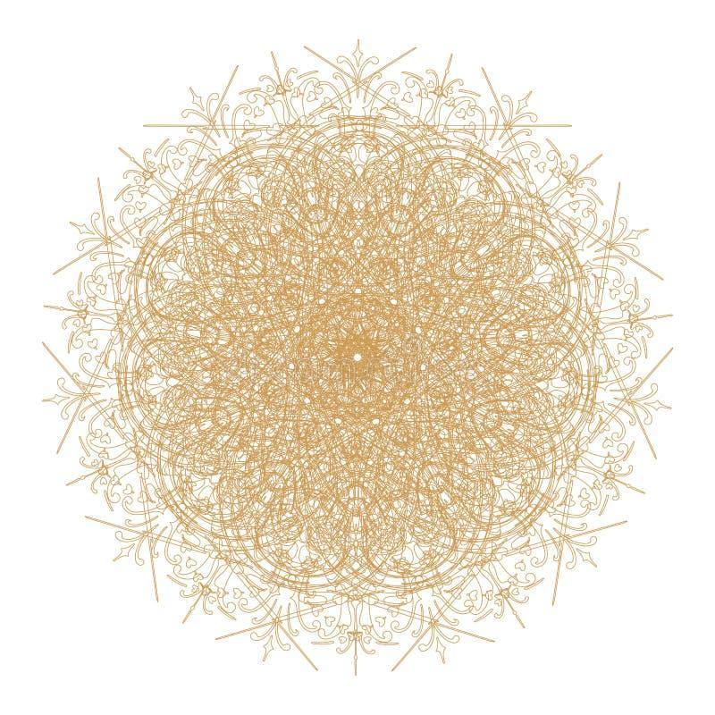 Decoratief goud en frame met uitstekende ronde patronen op wit! stock illustratie