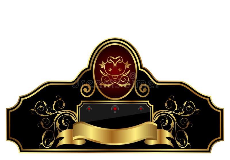 Decoratief gouden frame etiket royalty-vrije illustratie