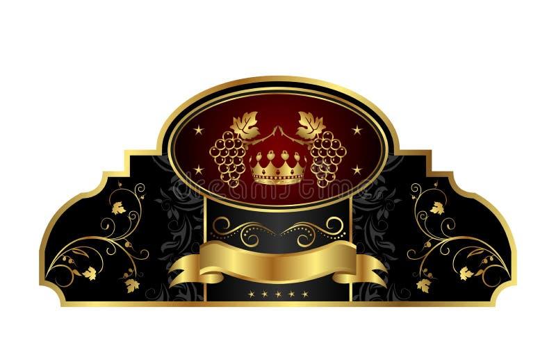 Decoratief gouden frame etiket met wijnstok vector illustratie