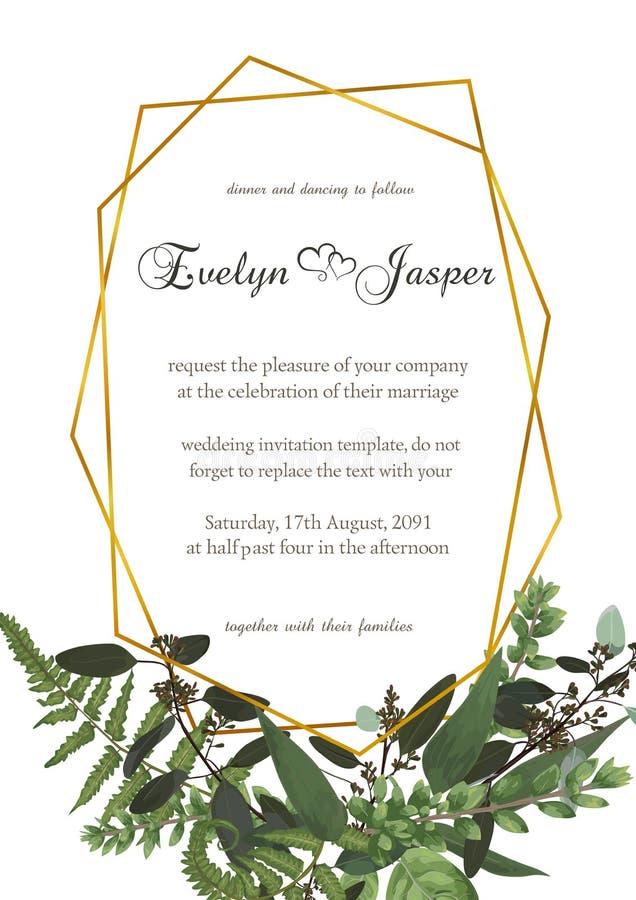 Decoratief gouden rechthoekig die kader met eucalyptus, varen en bukshouttakken op wit worden geïsoleerd Voor huwelijksuitnodigin royalty-vrije illustratie
