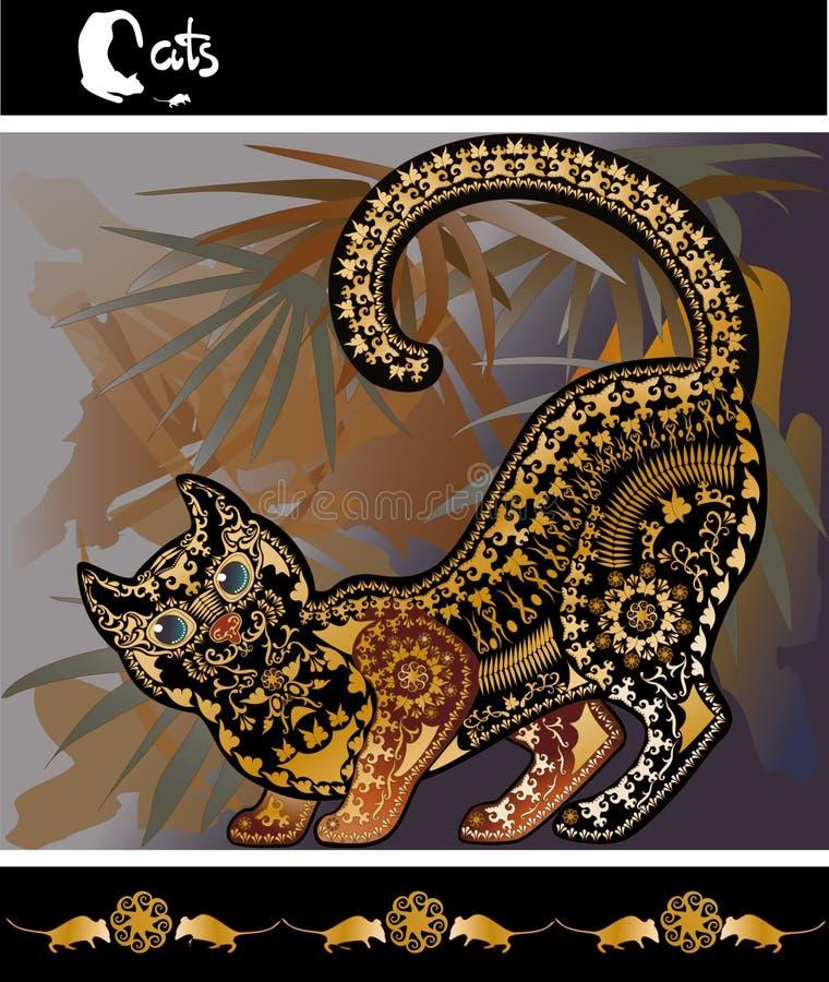 Decoratief grafisch beeld bont als achtergrond met een kat stock illustratie