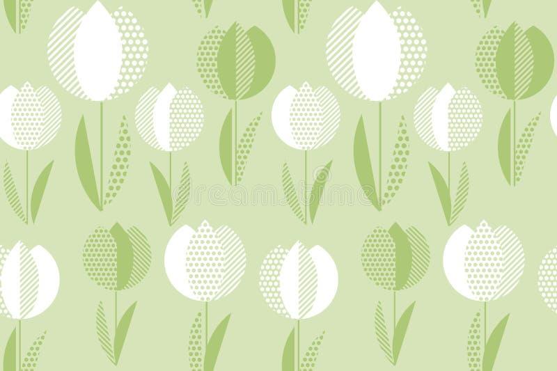 Decoratief groen de bloem naadloos patroon van de kleurentulp royalty-vrije illustratie