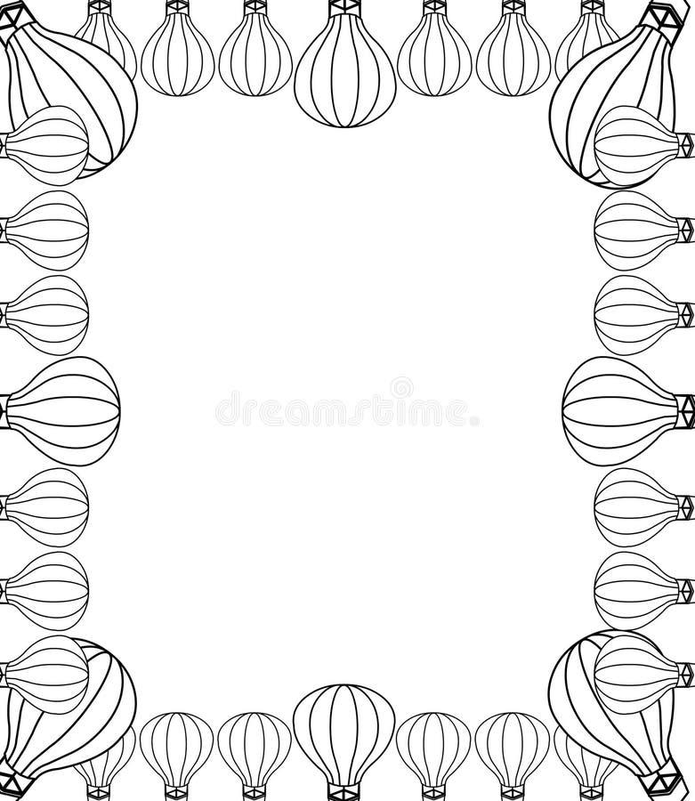 Decoratief hand getrokken ballongrens en kader stock illustratie