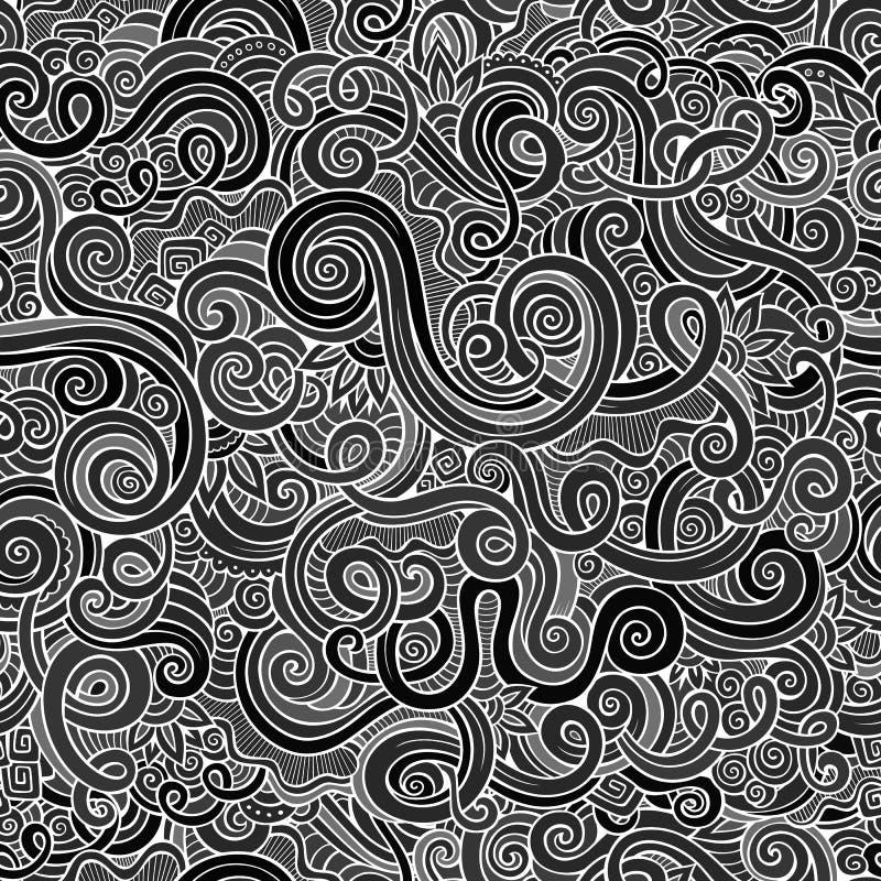 Decoratief hand getrokken sier de krulpatroon van de krabbelaard vector illustratie