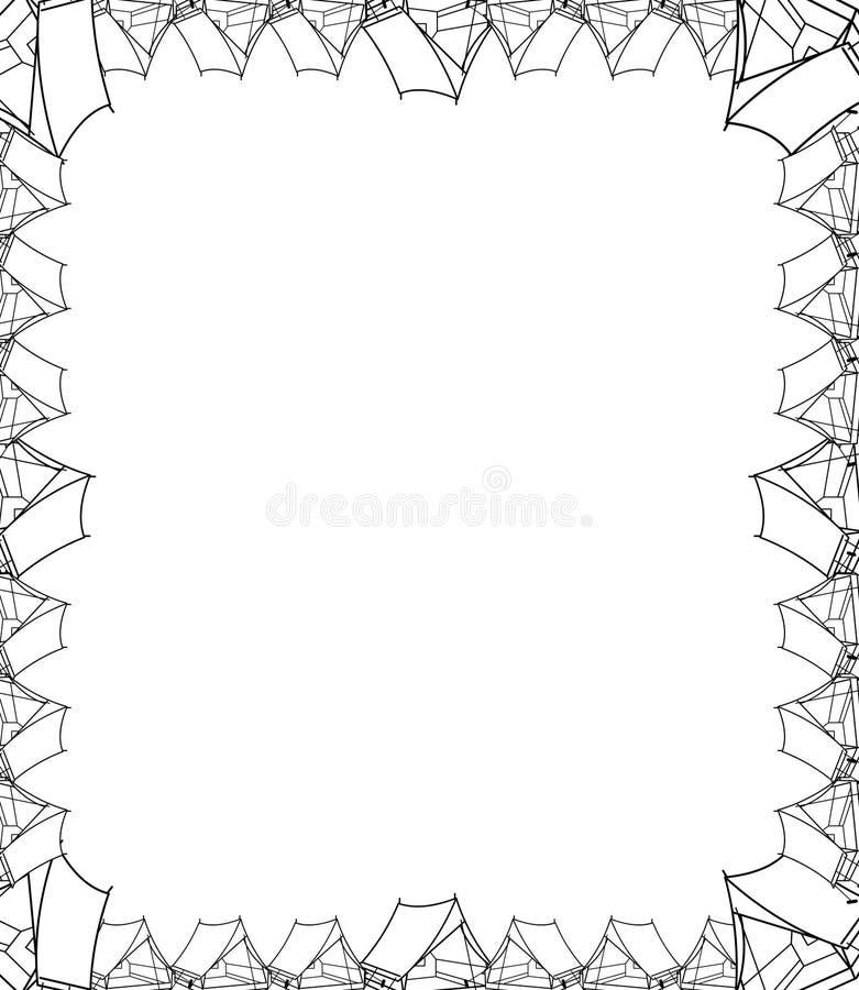 Decoratief hand getrokken tentgrens en kader stock illustratie