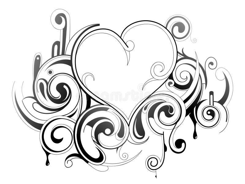 Decoratief hart stock illustratie
