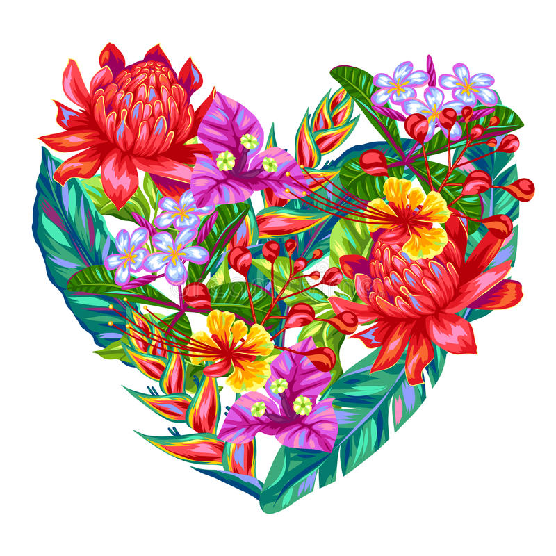 Decoratief hart met de bloemen van Thailand Tropische veelkleurige installaties, bladeren en knoppen stock illustratie