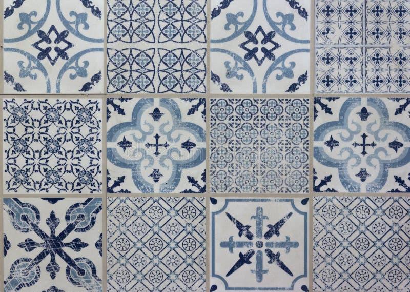 Decoratief het lapwerkontwerp van het tegelpatroon - wit blauw, stock fotografie