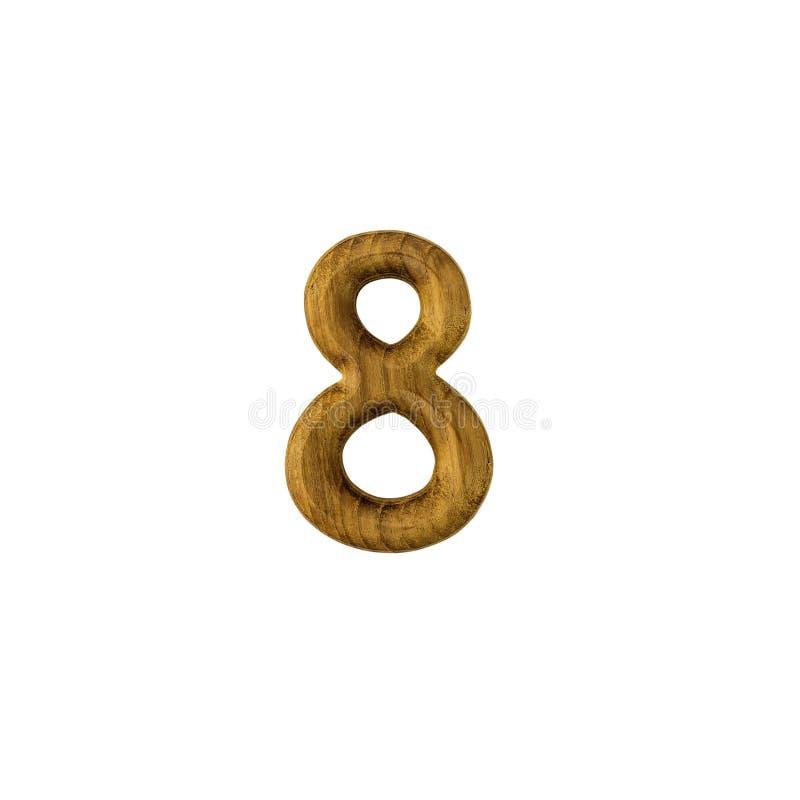 Decoratief houten alfabetcijfer acht stock foto's