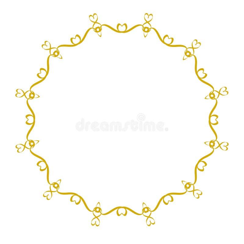Decoratief kader, elegant gouden vectorhartelement om grens op wit, voorraad vectorillustratie royalty-vrije illustratie