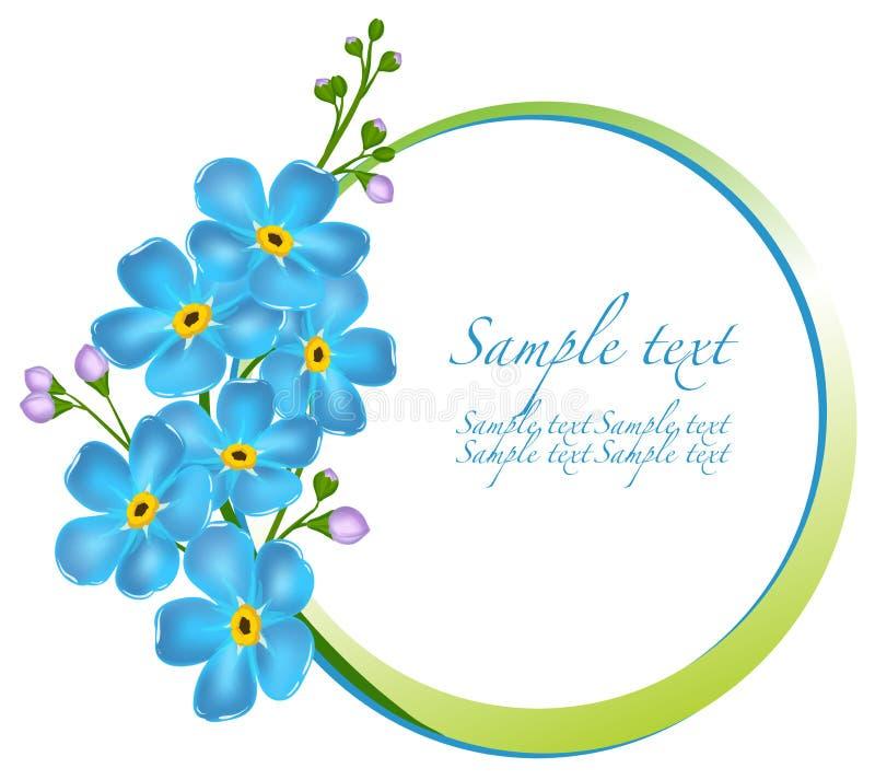 Decoratief kader met vergeet-mij-nietjebloemen stock illustratie
