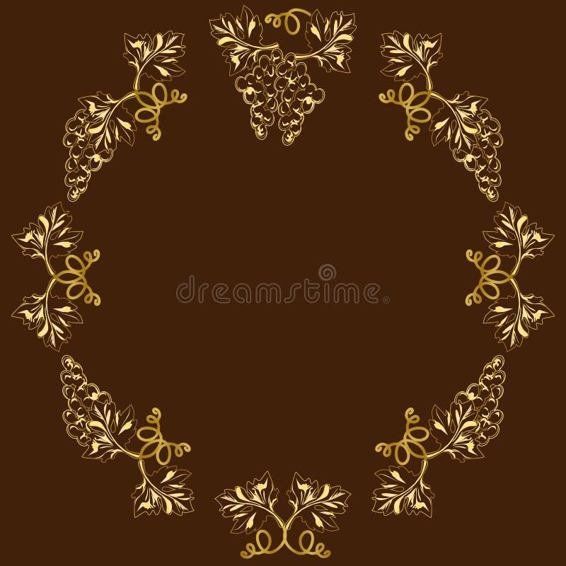 Decoratief kader, kader voor de tekst in kleur, druiven stock illustratie