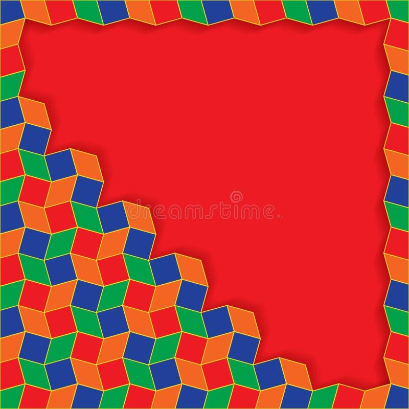 Decoratief kleurrijk tekst of fotokader van ruit en vierkante vormen met hoekornament vector illustratie