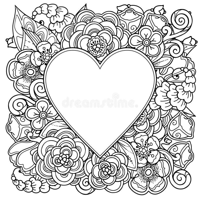 Decoratief liefdekader met hart stock illustratie