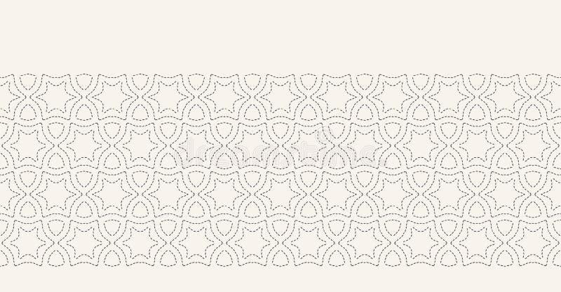 Decoratief lopend de grenspatroon van het steekborduurwerk Arabisch sterhandwerk Hand getrokken sier textiellintversiering royalty-vrije illustratie