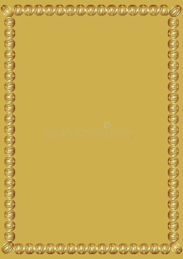 Decoratief luxueus gouden kader op gouden achtergrond Grens met 3d in reliëf gemaakt effect Elegant malplaatje voor a stock illustratie
