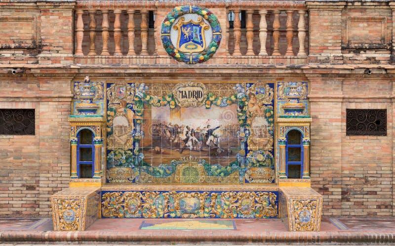 Decoratief mozaïek bij Plein Espana in Sevilla die de belangrijkste gebeurtenissen van elk gebied van Spanje tonen madrid Juli 20 stock foto's