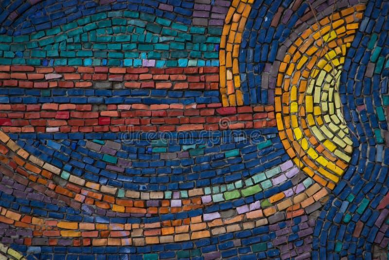 Decoratief mozaïek gemaakt tot kleurrijke houten textuur stock foto's