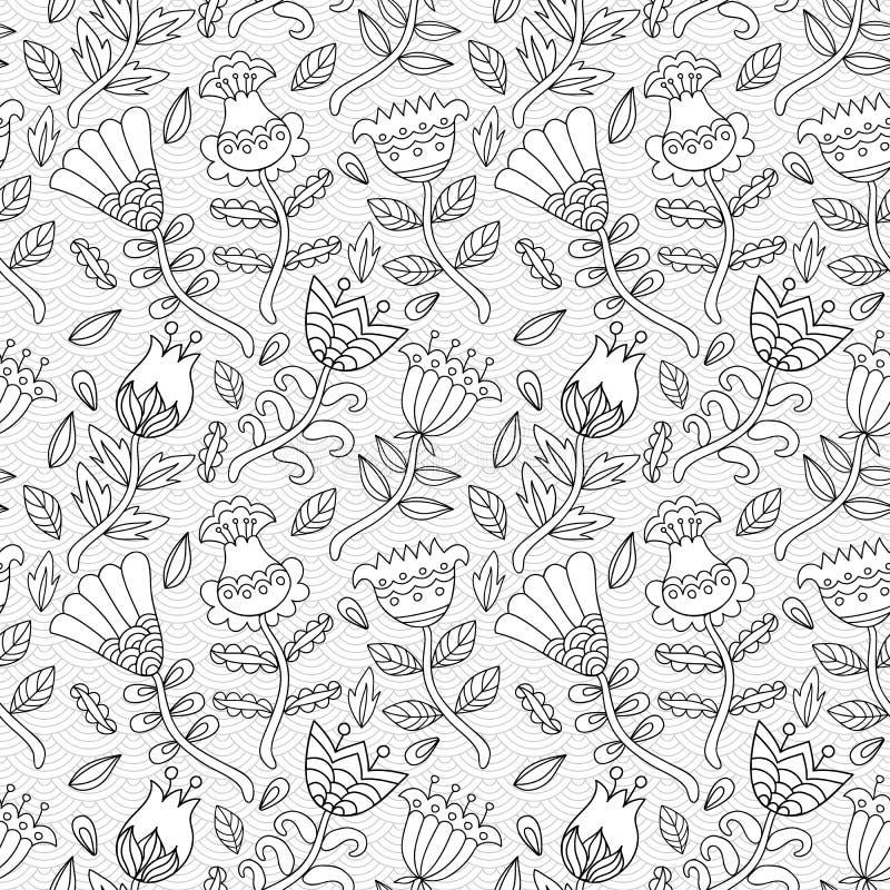Decoratief naadloos patroon als achtergrond met contourtekening van F vector illustratie