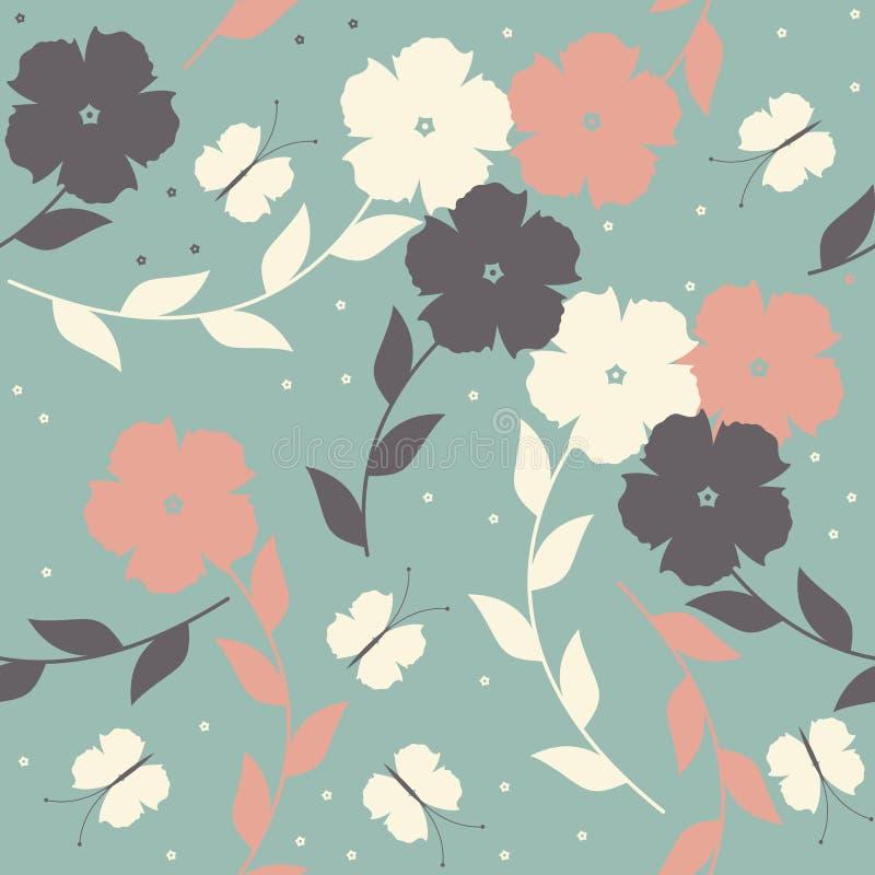Decoratief naadloos patroon met bloemen, bladeren en vlinders vector illustratie