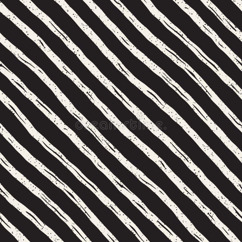 Decoratief naadloos patroon met handdrawn krabbellijnen De hand schilderde golvende strepenachtergrond In eindeloze uit de vrije  royalty-vrije illustratie