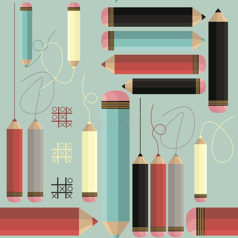 Decoratief naadloos patroon met kleurrijke potloden en lijnen vector illustratie