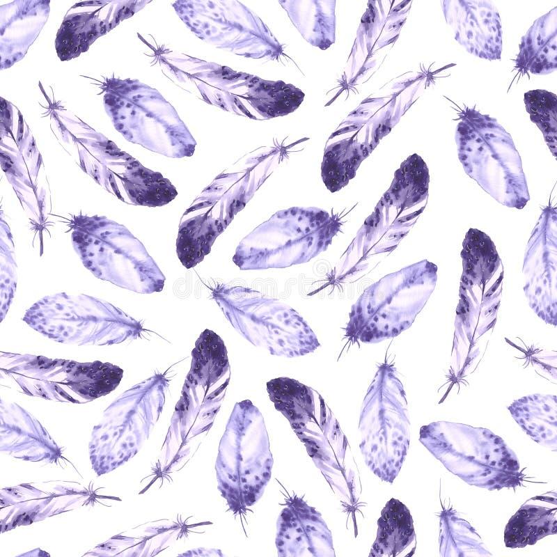 Decoratief naadloos patroon met veren De achtergrond van de waterverf vector illustratie