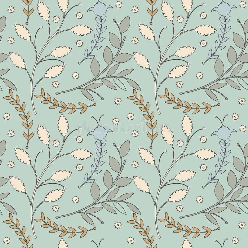 Decoratief naadloos patroon met verschillende bloemen en bladeren  royalty-vrije illustratie