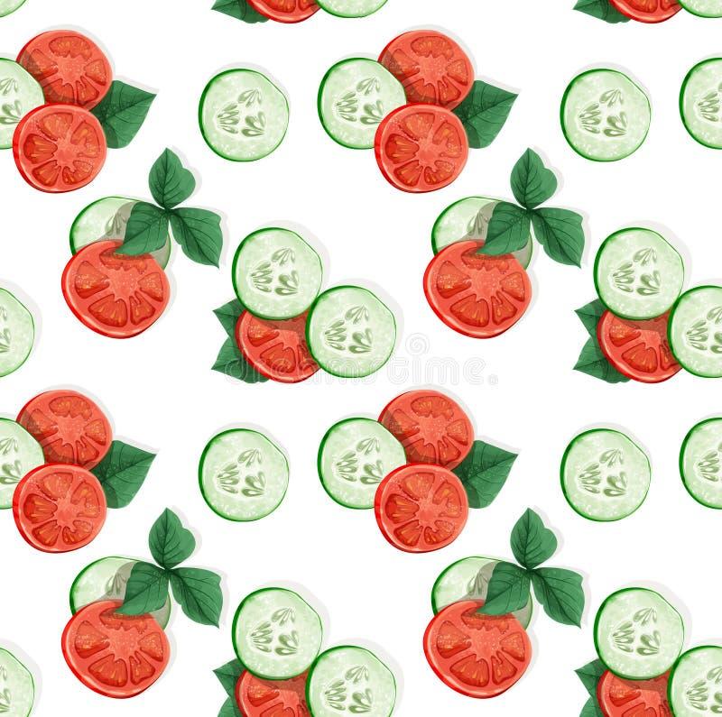 Decoratief naadloos patroon van komkommer en tomaat stock illustratie