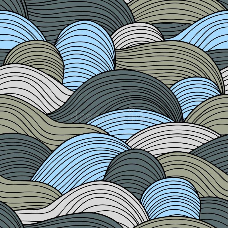 Decoratief naadloos patroon Vectorillustratie met abstracte golven of duinen royalty-vrije illustratie