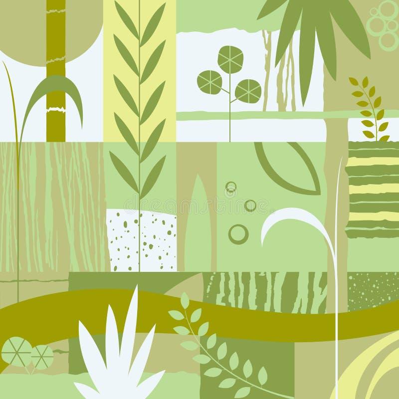 Decoratief ontwerp met installaties royalty-vrije illustratie