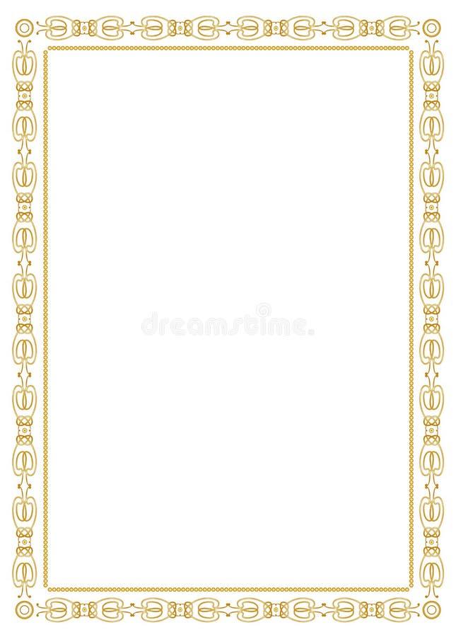 Decoratief ornamentframe - goud royalty-vrije illustratie