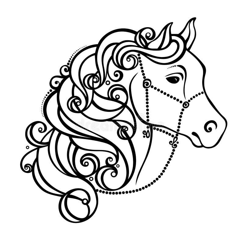 Decoratief Paard met Gevormde Manen stock illustratie