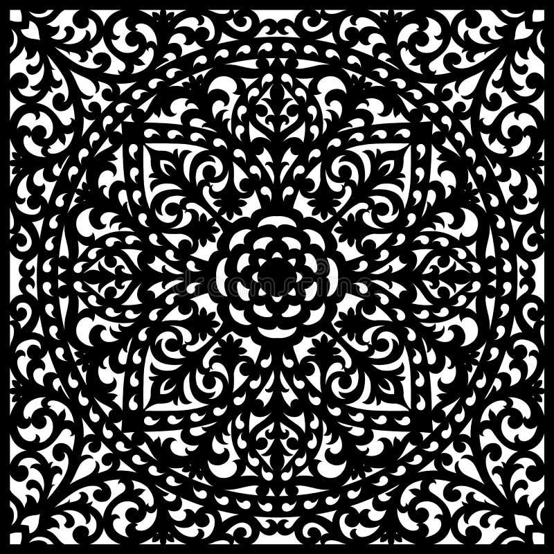 Decoratief paneel met kantpatroon, elegant vierkant ornament stock illustratie