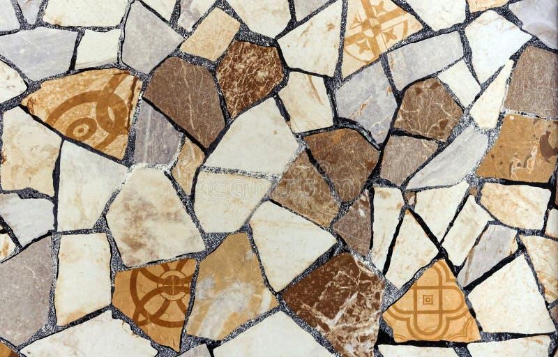 Decoratief paneel van diverse delen van keramische tegels stock foto's