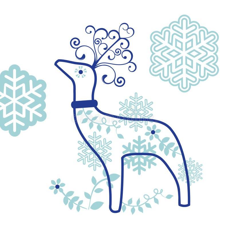 Decoratief rendier met sneeuwvlokken vector illustratie